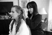 Lianid preparing the Bride's Hair